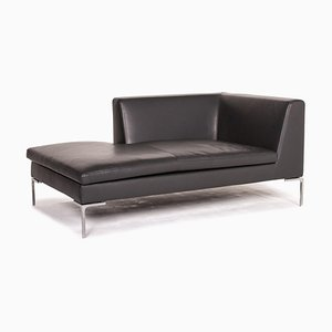 Charles Anthracite Gray Leather Chaise Lounge from B&B Italia