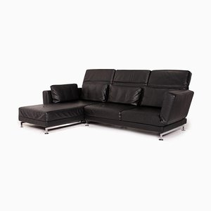 Moule Black Leather Corner Sofa from Brühl & Sippold