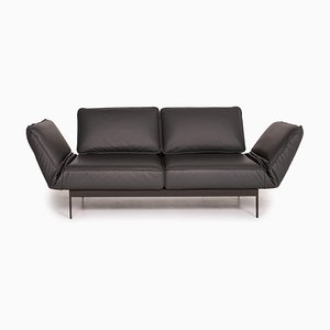 Mera Dark Gray Leather Sofa by Rolf Benz