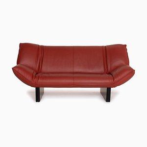 Leolux Tango Dark Red Leather Sofa