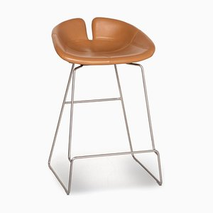 Moroso Fjord Cognac Leather Bar Stool