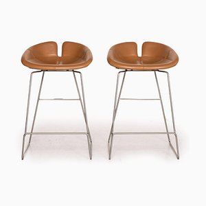 Moroso Fjord Cognac Leather Bar Stool, Set of 2