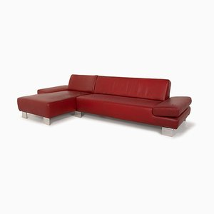 Taboo Red Leather Corner Sofa by Willi Schillig