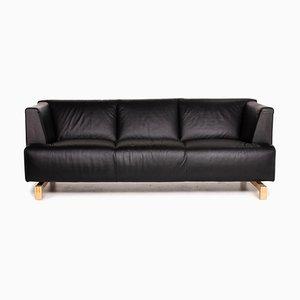 Leolux Black Leather Sofa