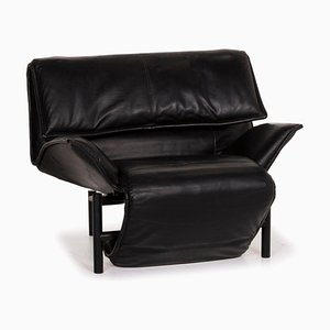 Veranda Black Leather Armchair from Cassina