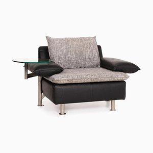 Tayo Black Leather Armchair with Glass Shelf