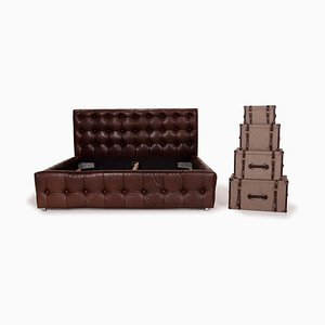 Brown Leather Bed with Chest from Bretz