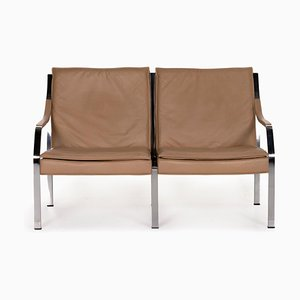 Beige and Brown Leather Sofa by Walter Knoll