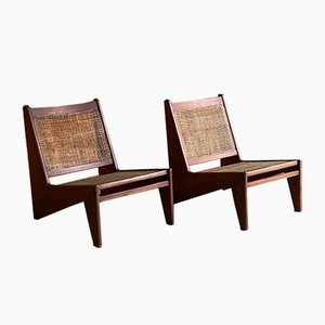 Teak & Cane CH010607 Kangourou Lounge Chairs by Pierre Jeanneret, 1950s, Set of 2