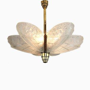 Pariser Art Deco Deckenlampe von Jules Robert, 1920er
