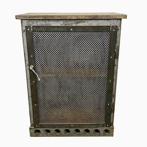 Industrial Iron Cabinet with Mesh Door, 1960s