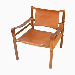 Mid-Century Leather Safari Lounge Chair by Arne Norell