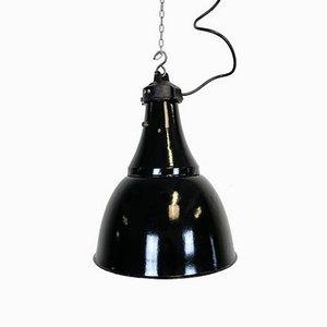 Industrial Bauhaus Black Enamel Pendant Lamp, 1930s