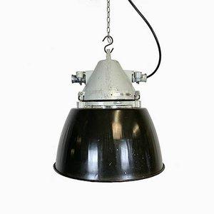 Lampada antideflagrante in alluminio pressofuso grigio con paralume smaltato nero di Elektrosvit, anni '70