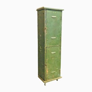Industrial Green Metal Locker Cabinet, 1920s
