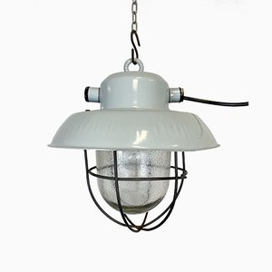 Industrial Gray Aluminum Hanging Lamp, 1960s