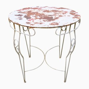 Distressed Painted Iron Garden Table, 1950s