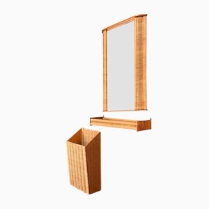 Rattan & Teak Mirror and Rack Set, 1960s, Set of 3