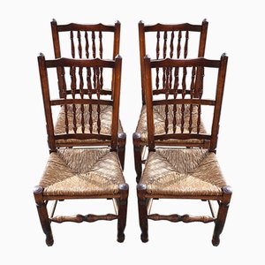 Oak & Rush Dining Chairs, 1940s, Set of 4