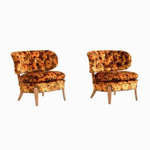 Swedish Floral Velvet and Beech Lounge Chairs by Otto Schulz for Boet, 1940s, Set of 2