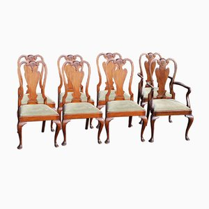 Queen Anne Style Mahogany Dining Chairs, 1920s, Set of 8