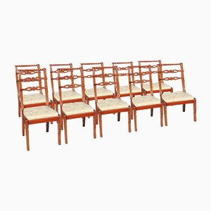 Mahogany & rope Dining Chairs, 1960s, Set of 10