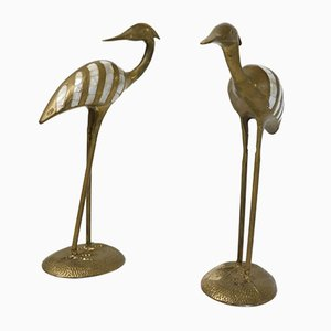Brass and Pink Stone Flamingos, 1960s, Set of 2