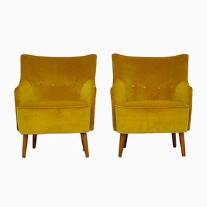 Mid-Century Yellow Velvet Armchairs, 1960s, Set of 2