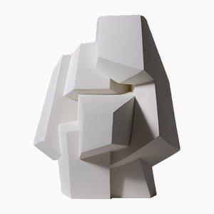 Escultura abstracta cubista de escayola blanca, años 60