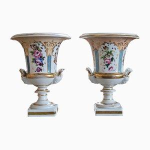 Antique French Paris Porcelain Vases, 1820s, Set of 2