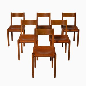 French Solid Elm & Leather S24 Dining Chairs by Pierre Chapo, 1966, Set of 6