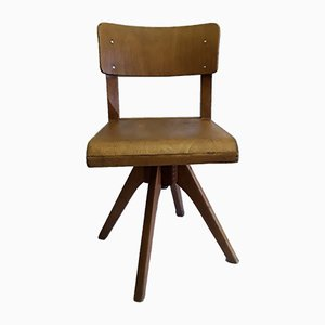 German Beech, Plywood & Iron Swivel Chair from Casala, 1950s