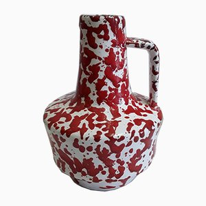 Red & White Patterned Ceramic Pitcher / Vase from Jopeko, 1970s
