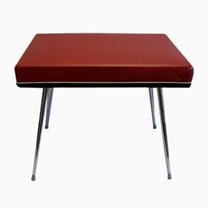 Chromed Steel & Red Vinyl Folding Stool with Storage, 1970s