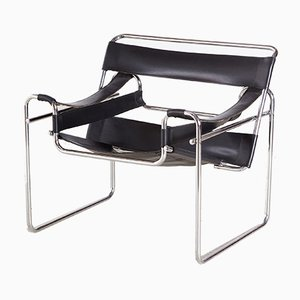 Vintage Bauhaus Style Tubular Lounge Chair, 1950s