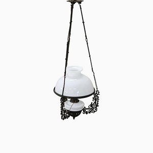 Antique Wrought Iron Ceiling Lamp, 1880s