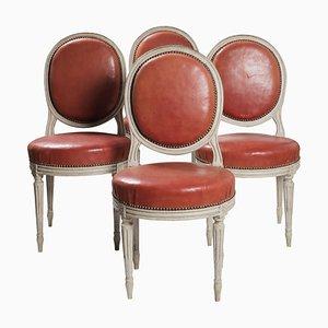 Antike Esszimmerstühle mit ovaler Rückenlehne im Louis XVI Stil, 2er Set