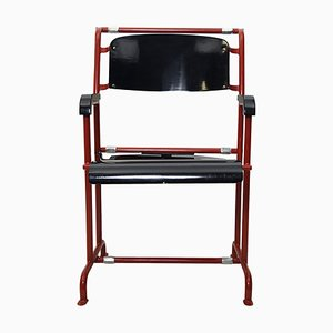 Modernist Red Metal & Black Wood Folding Armchair by Gerrit Rietveld for Hopmi