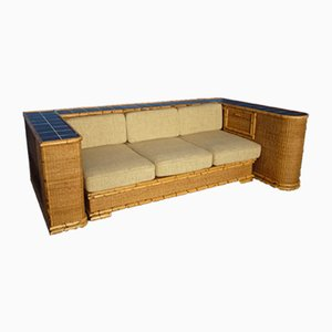 Vintage German Art Deco Rattan & Bamboo Sofa from Arco, 1940s