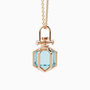 Modern Minimalist 18k Solid Rose Gold Mini Six Senses Talisman Pendant Necklace with Natural Blue Topaz by Rebecca Li