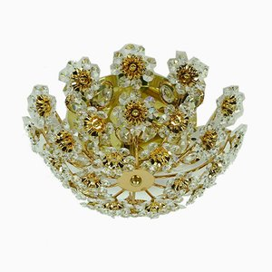Crystal Glass & Gilt Brass Flower Ceiling Lamp by Christoph Palme for Palwa, 1970s