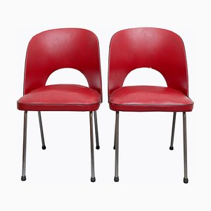 Red Dining Chairs, 1950s, Set of 2