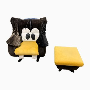 Goofy Rocking Chair and Ottoman from Bretz, 1990s, Set of 2