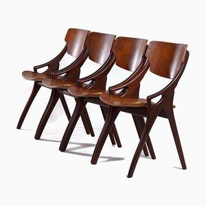 Teak Esszimmerstühle von Hovmand Olsen für Mogens Kold 1960er, 4er Set