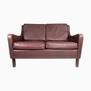 2-Seat Sofa in Red Brown Leather from Stouby Furniture