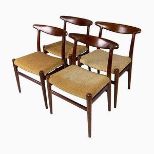 Dining Chairs Model W2 by Hans J. Wegner, 1960s, Set of 4