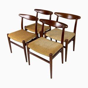 Esszimmerstühle Modell W2 von Hans J. Wegner, 1960er, 4er Set