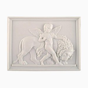 Antique Wall Plaque with Putto and Lion from Bing and Grøndahl