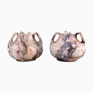 Vases in Glazed Ceramics by Alf Wallander for Rörstrand, Set of 2