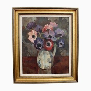 Still Life with Anemones in Pitcher, 1930s, Oil on Canvas